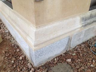 new stone plinth moulding exacting fit with old.