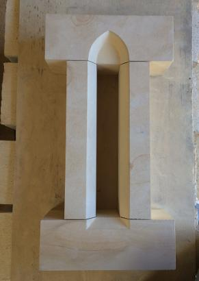 arrow slit window for gable vent , in Sherborne stone.